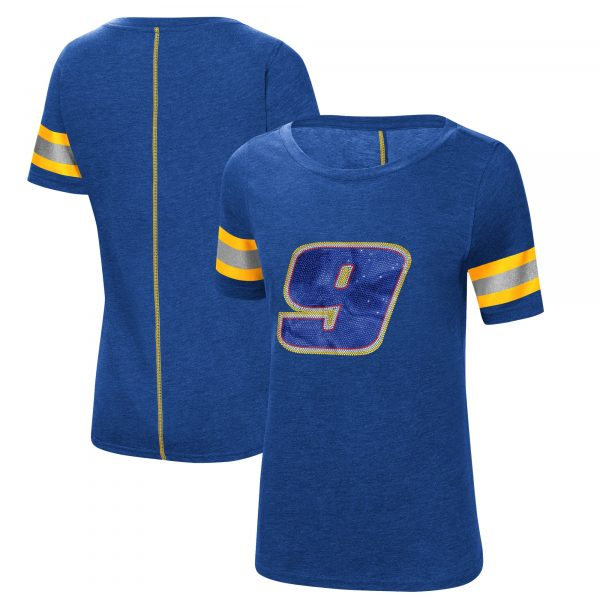 Chase Elliott G-III 4Her by Carl Banks Women's The Ace Scoop Neck T-Shirt - Royal/Yellow