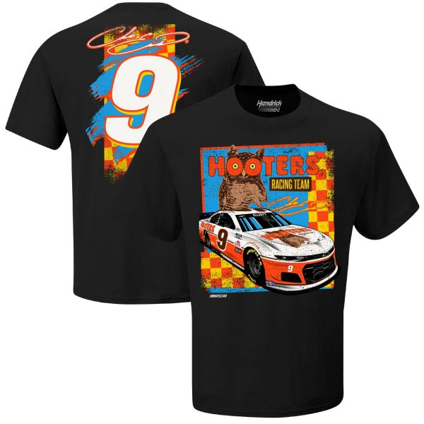 Chase Elliott Hendrick Motorsports Team Collection Hooters Throwback Graphic 2-Spot T-Shirt - Black