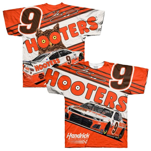 Chase Elliott Hendrick Motorsports Team Collection Hooters Throwback Sublimated Total Print T-Shirt - Orange/White