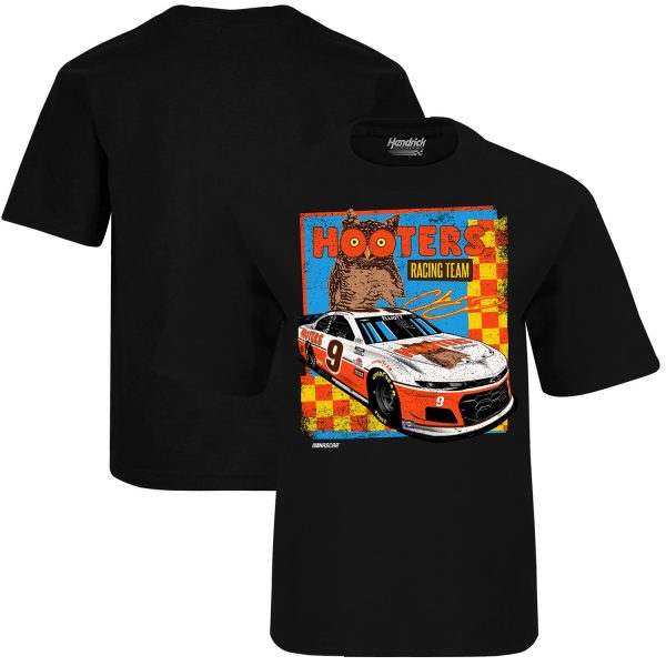 Chase Elliott Hendrick Motorsports Team Collection Youth Hooters Throwback Graphic 1-Spot T-Shirt - Black